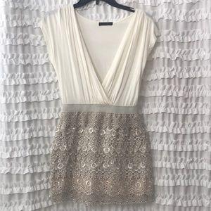 Plunge Front, Lace Skirt Mini Dress